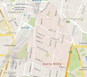 Map of Surry Hills, NSW