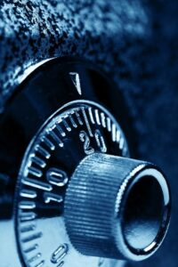 Combination lock on front of safe